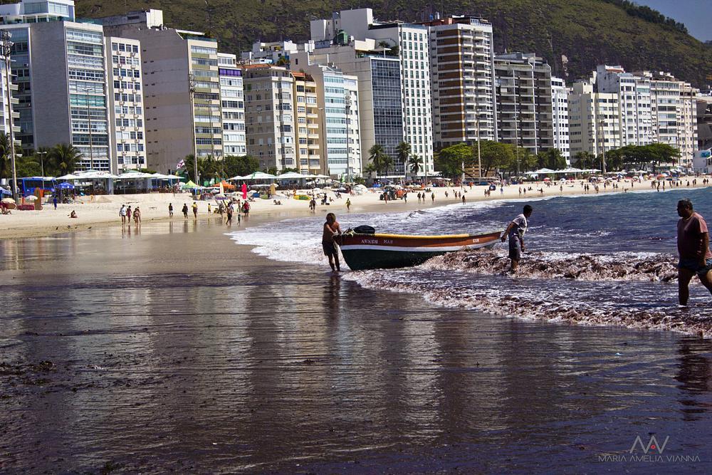 Photo in Sea and Sand #boat #fisherman #beach #copacabana