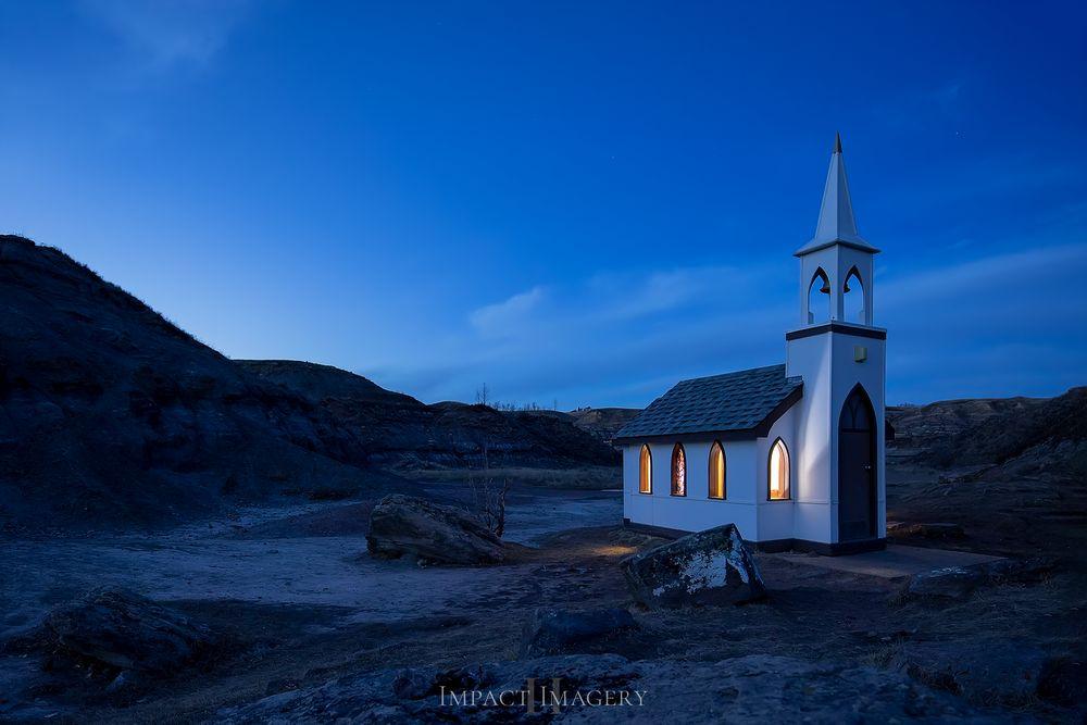 Photo in Landscape #drumheller #blue #blue hour #nautical twilight #twilight #lights #badlands #alberta #tourist hotspot #history