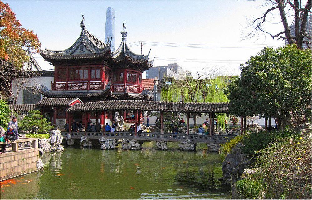 Photo in Random #yu gardens #shanghai #travel #tourism #architecture #bridge #pond #fish #people #statues #trees