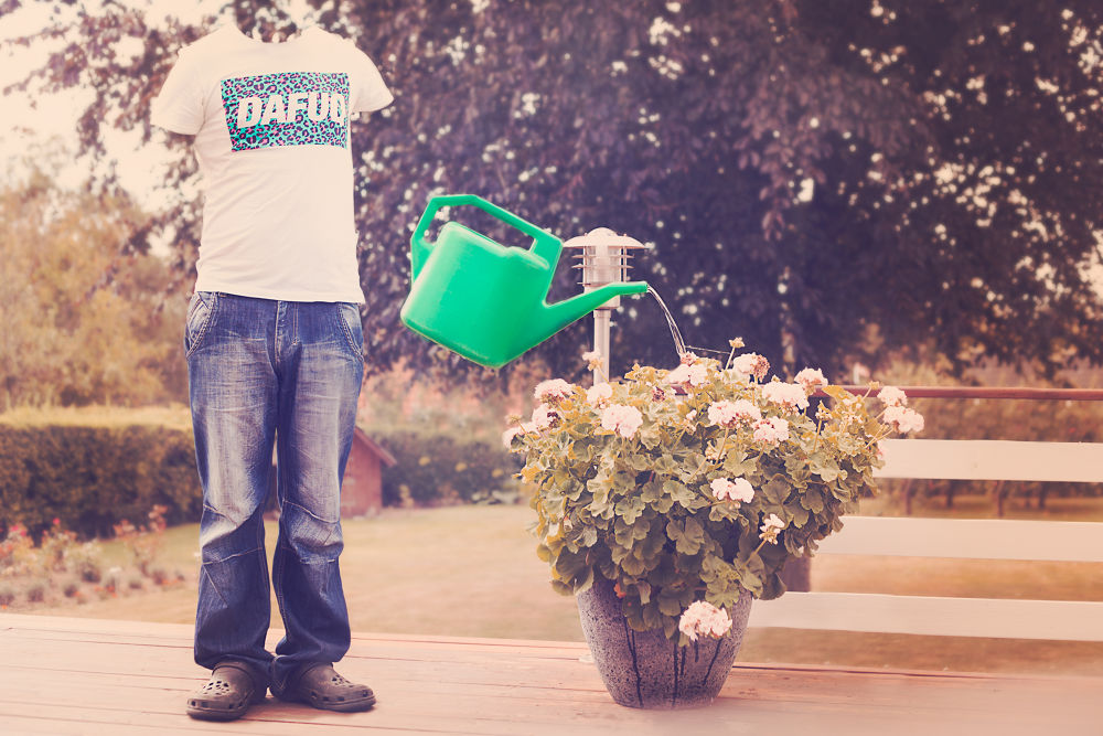 Photo in Random #pants #shoes #shirt #watering can #flower #tree