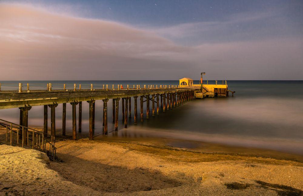 Photo in Sea and Sand #beach #pier #baku #city #sea #seascape #seafront #caspian #seaside #evening #night #long exposure #sand #sky #azerbaijan #landscape #travel