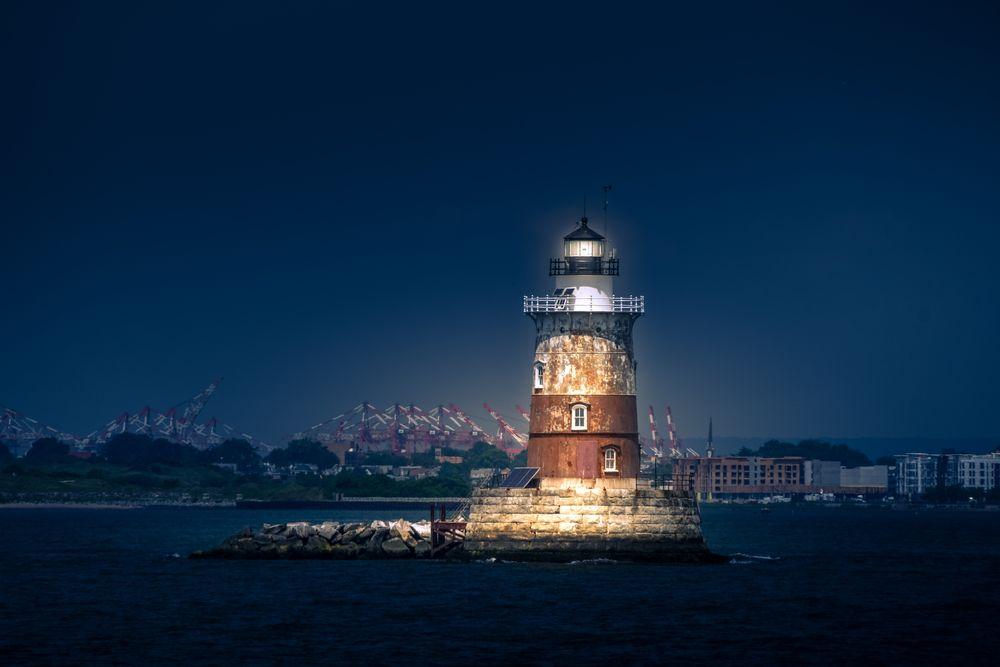 Photo in Landscape #lighthouse #landscape #night #light #beacon #bay