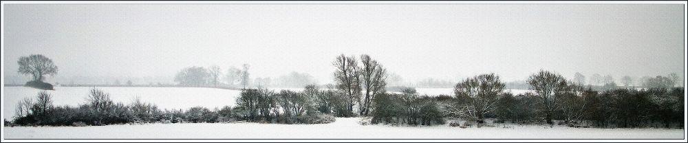 Photo in Landscape #monochrome #b&w #panorama #snow #fields #mist #misty