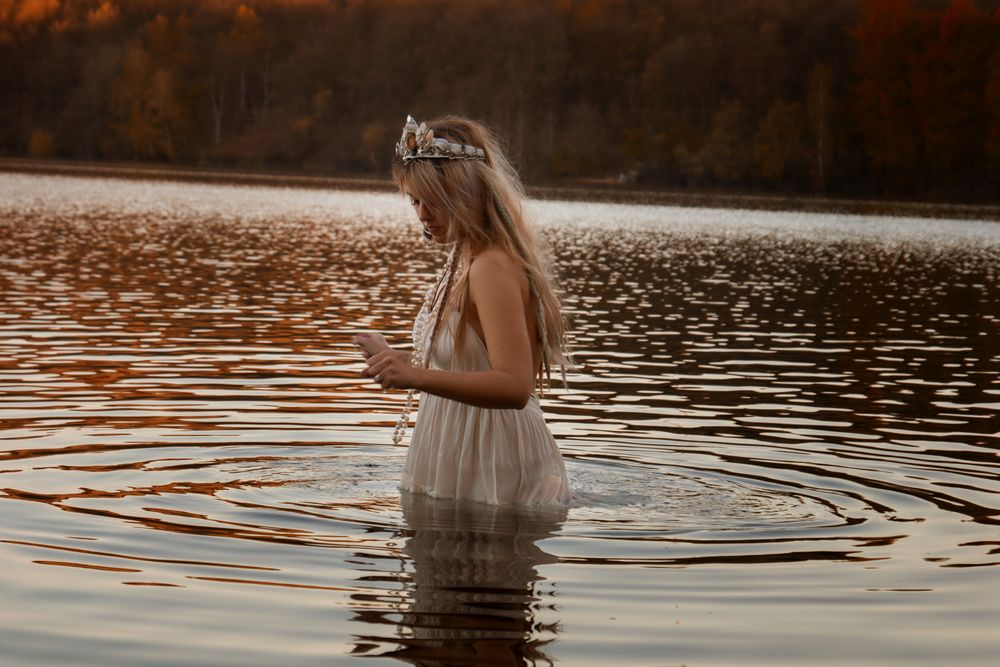 Photo in People #girl #women #dress #water #wet #blonde #headpiece #fantasy #dream