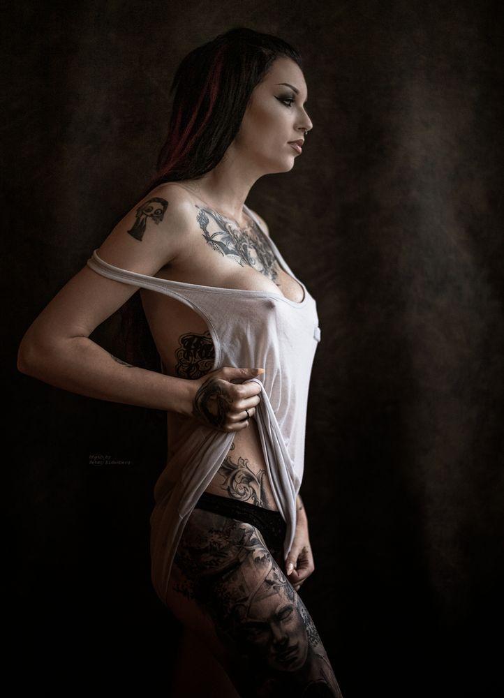 Photo in Portrait with model Ida G  #portrait #ink #female #women #body #sensual #mood #windowlight #indoor #shoot