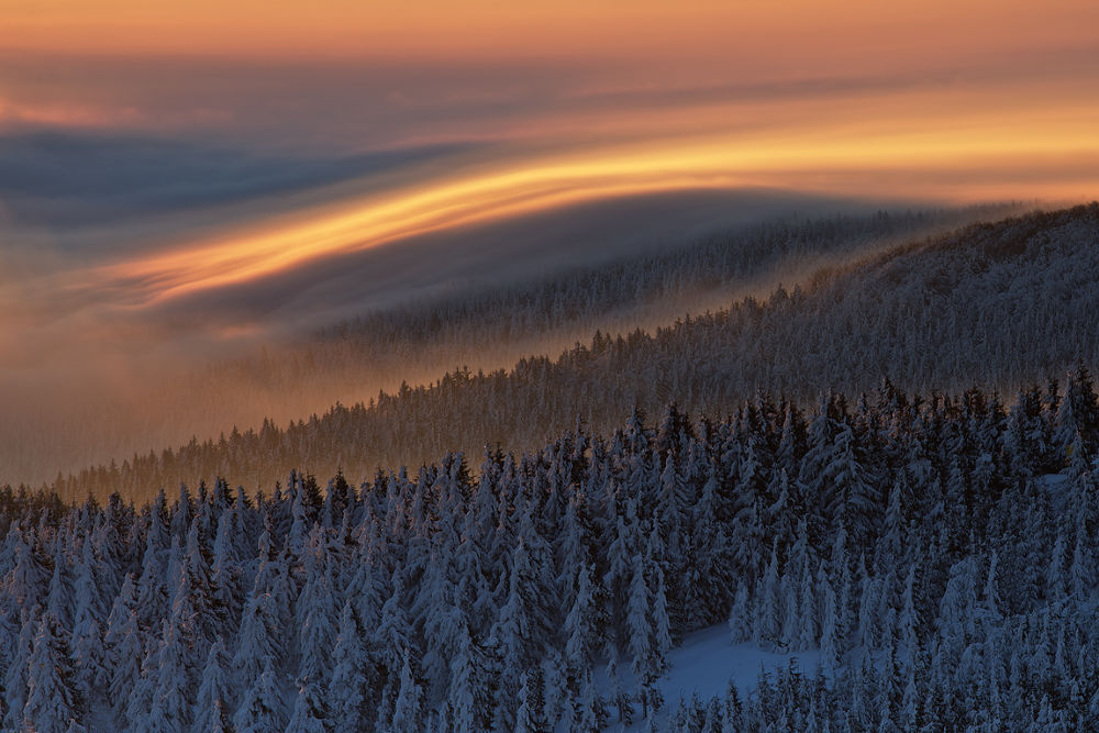 Photo in Landscape #winter #waves #clouds #mist #fog #cold #snow #trees #mountains #light #morning #sunrise #czech republic #martin rak #landscape #nature #photography #ypa2013