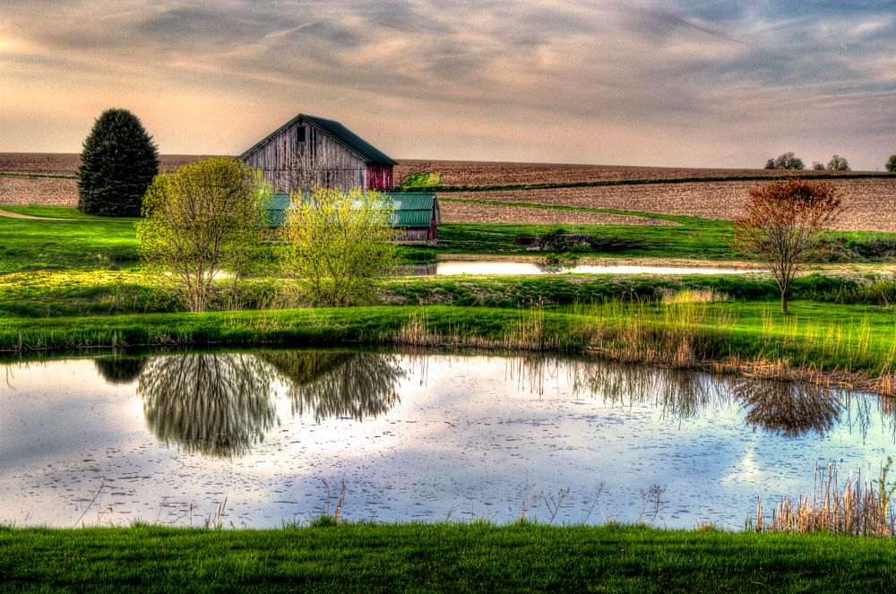 Photo in Landscape #barn #rural #pond #fields #trees #sky #reflections