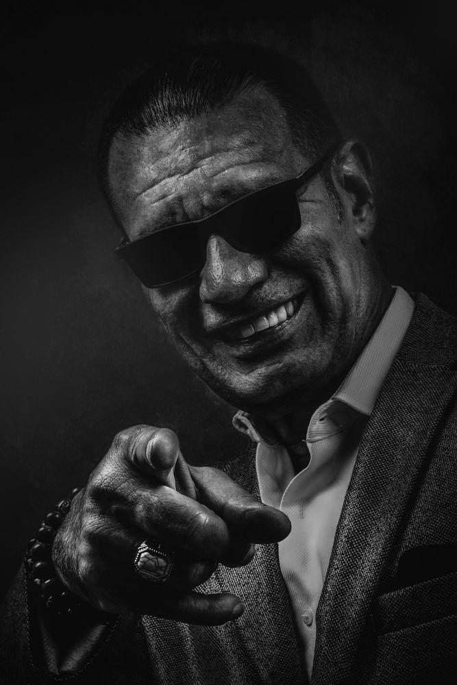Photo in Black and White #golden citizen #musician #black and white #glasses #sunglasses #man #smile #portrait