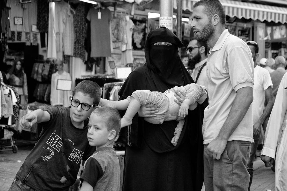 Photo in Street Photography #israel #jerusalem #oldcity #people #life #monochrome #bnw #blackandwhite #children #mum