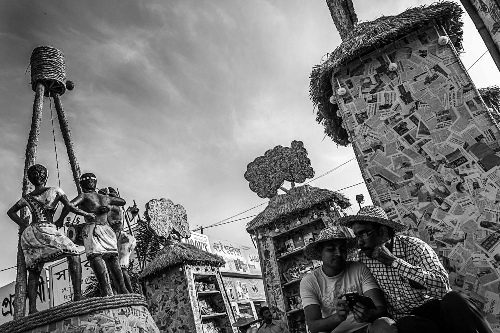Photo in Street Photography #b/w #street #people #sky #bookfair #friends