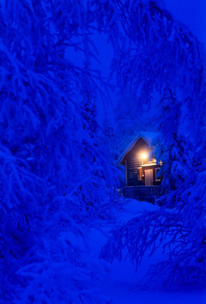 Photo in Random #winter #snow #cabin #christmas #light #blue #sälen #sweden
