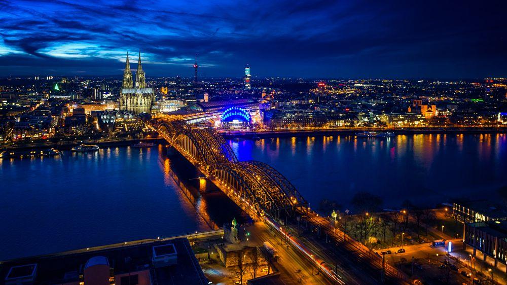 Photo in Cityscape #rhein #river #rhine #water #evening #blue hour #cathedral #church #skyline #cityscape #cologne #koeln #köln