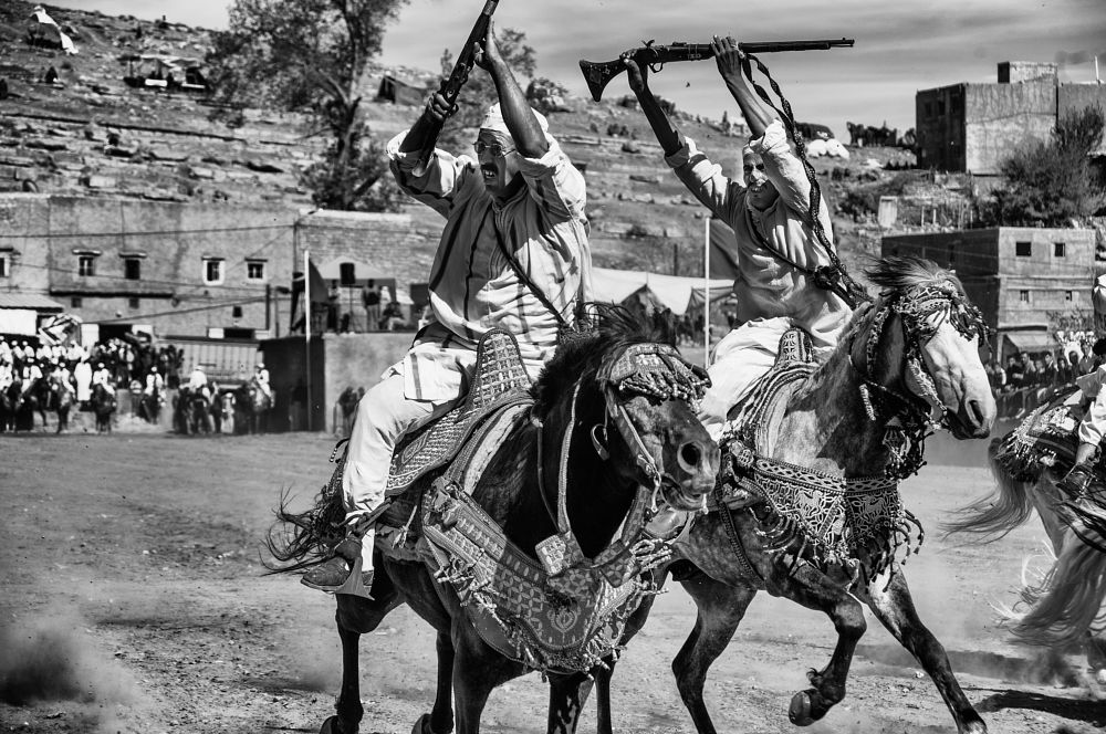Photo in Black and White #horses #riders #morocco #maroc #ouzoud #festival #ait mhamed #bine el ouidane #black #black and white