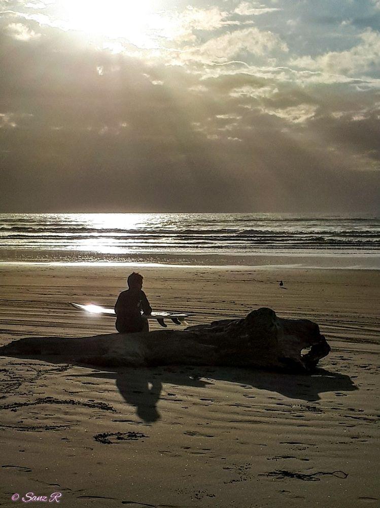 Photo in Sea and Sand #beach #sea #sand #sky #ocean #waves #surfboard #boy #sun