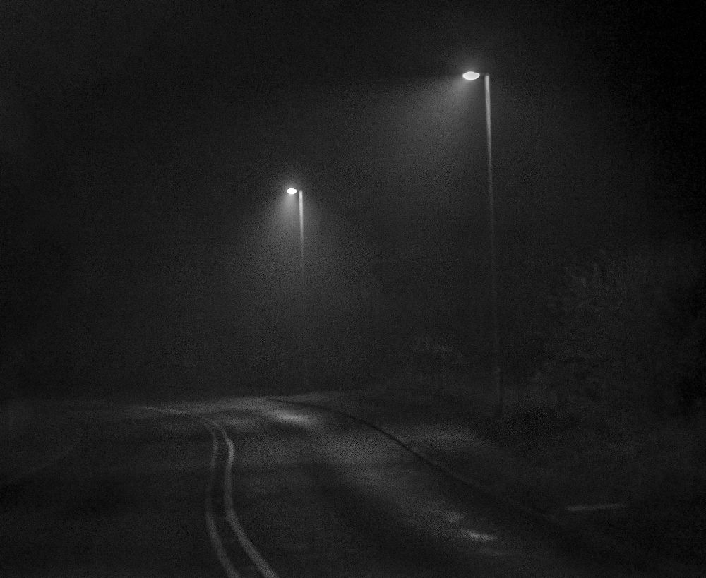 Photo in Black and White #streetlight #fog #road #street #canon #eos
