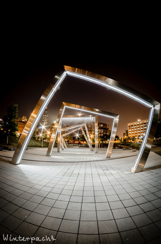 Photo in Architecture #chicago #park #mist #long exposure #fish eye #nightscape #cityscape