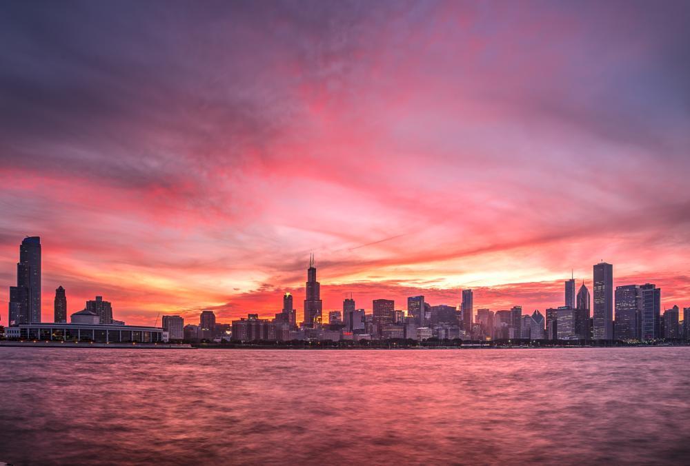 Photo in Cityscape #chicago #skyline #sunset #lake michigan #dusk