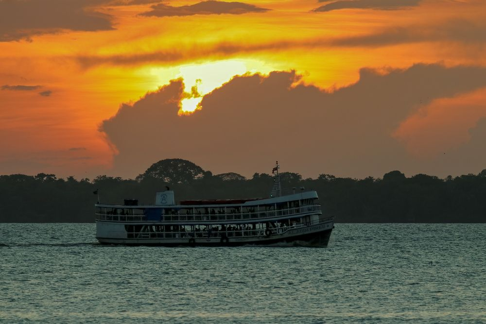 Photo in Vehicle #boat #passanger boat #water #sunset #cloud #ship #nautical vessel