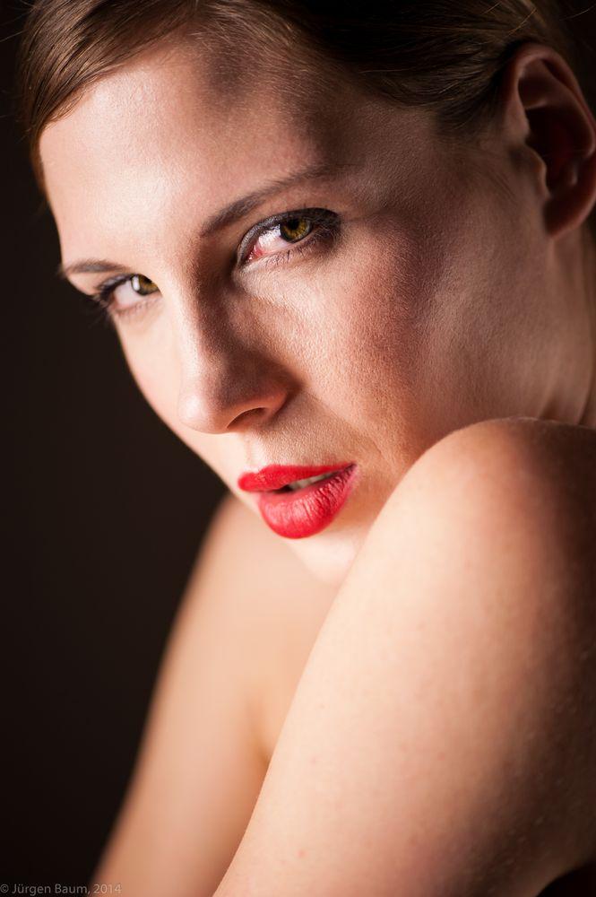 Photo in Nude #implied nude #model #studio #eyes #red lips #sensual #permanent light #skin #beauty #woman #female