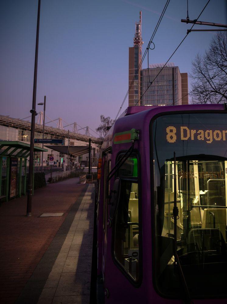 Photo in Random #tram #subway #sunset #street #urban #hannover #messe #sunrise