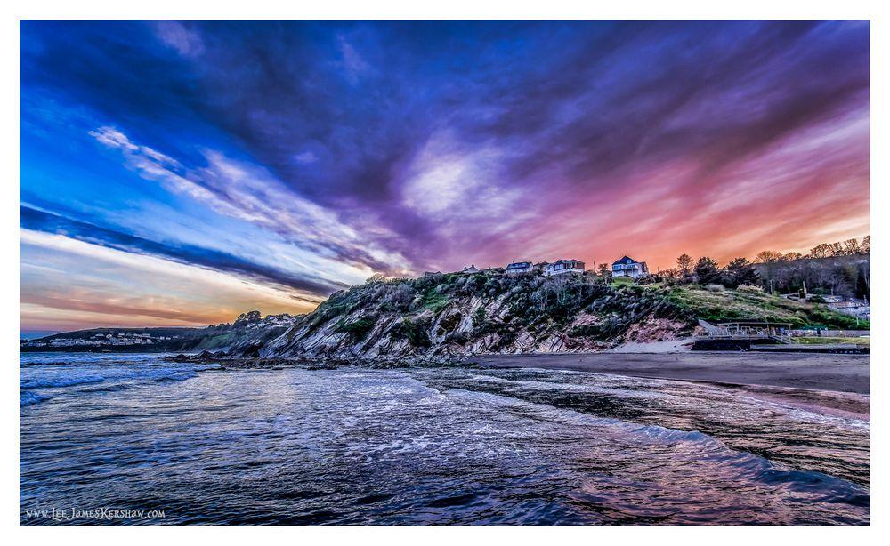 Photo in Sea and Sand #sunset #water #sea #cornwall #sky #clouds #dusk #beach #coast