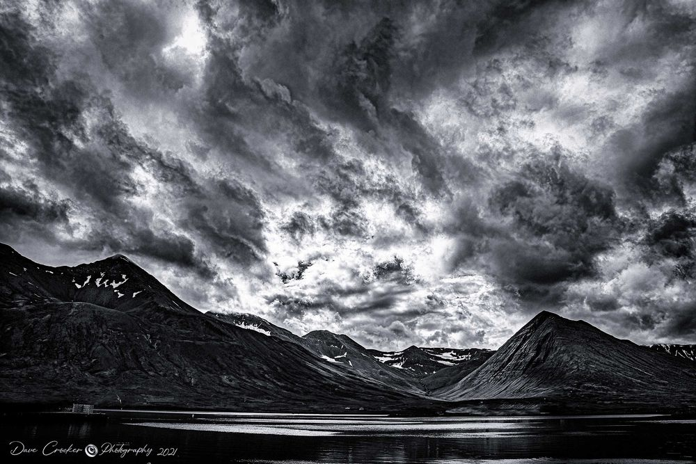 Photo in Black and White #mountain time #mountain #hill #vale #dales #valleys #iceland #iceland #cloud #clouds #sun #sunset #sea #bank #river #edge