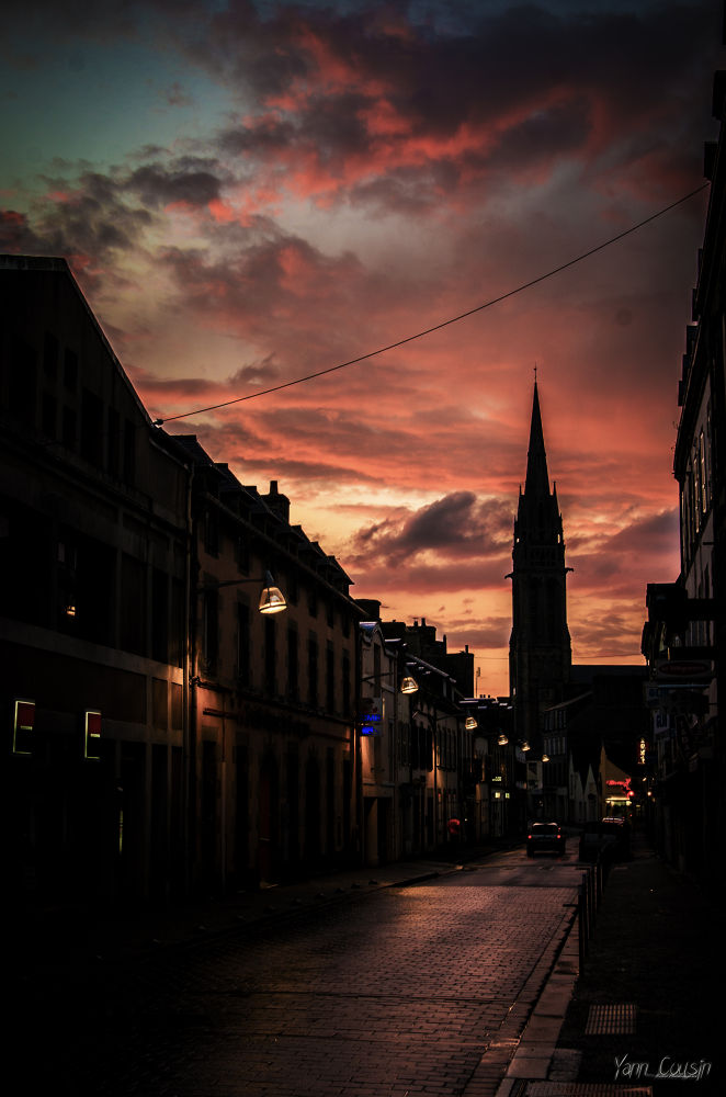 Photo in Cityscape #steeple #sunshine #cloud #sky #silhouette #bell tower #street #churche #french #brittany