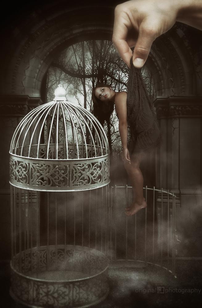 Photo in Vintage #girl #little #child #cage #vintage #dark