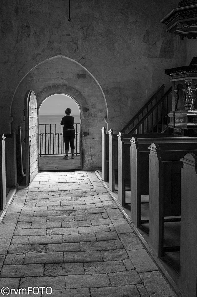 Photo in Black and White #church #old #stevns cliff #stevns klint #stone #stone floor