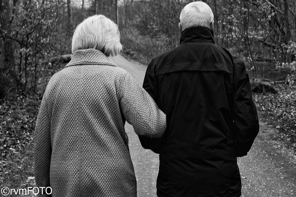 Photo in Black and White #couple #old #arm in arm #walking #love