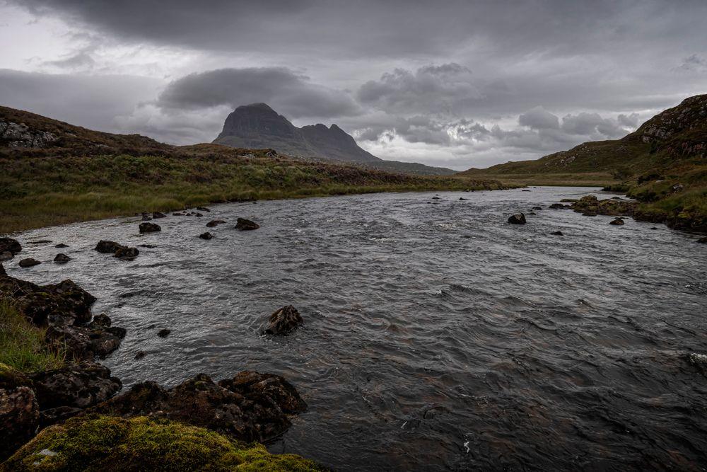 Photo in Landscape #suilven #assynt #scotland #mountains #river #landscape #clouds #sky #north west highlands #torridonian sandstone #lewisian gneiss #nikon #d7500 #river kirkaig #fionn loch.