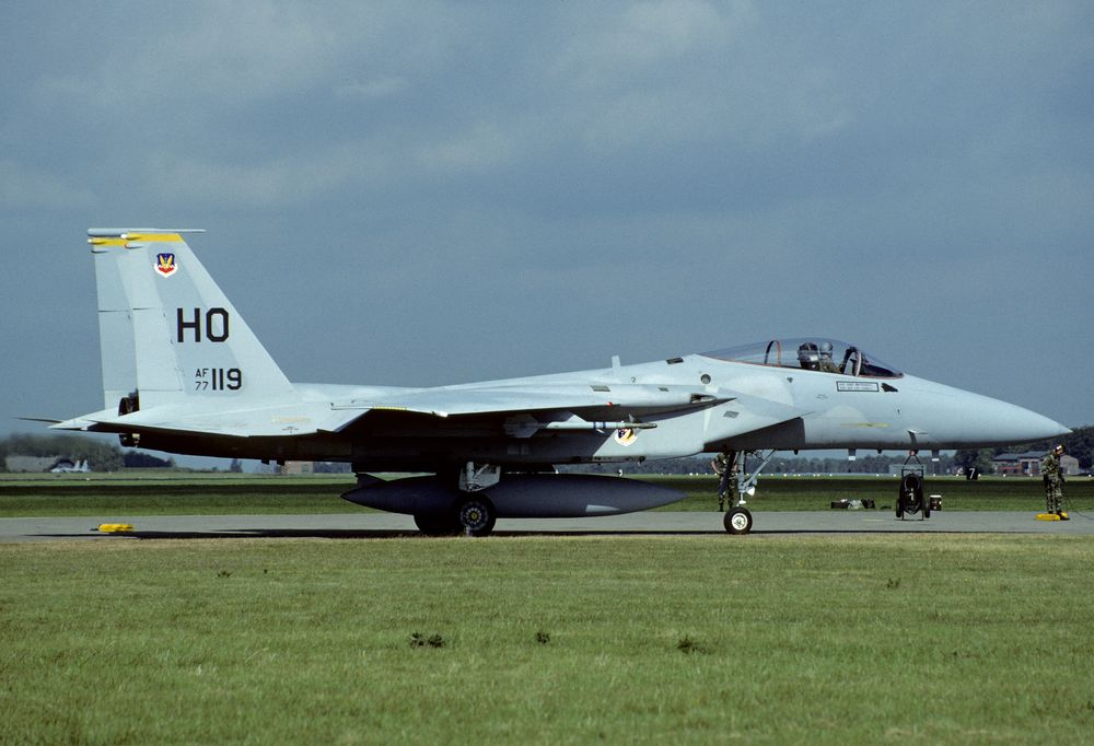 77-0119 HO y F-15A TAC 49TFW 8TFS 900621 Gilze=Rijen 1001