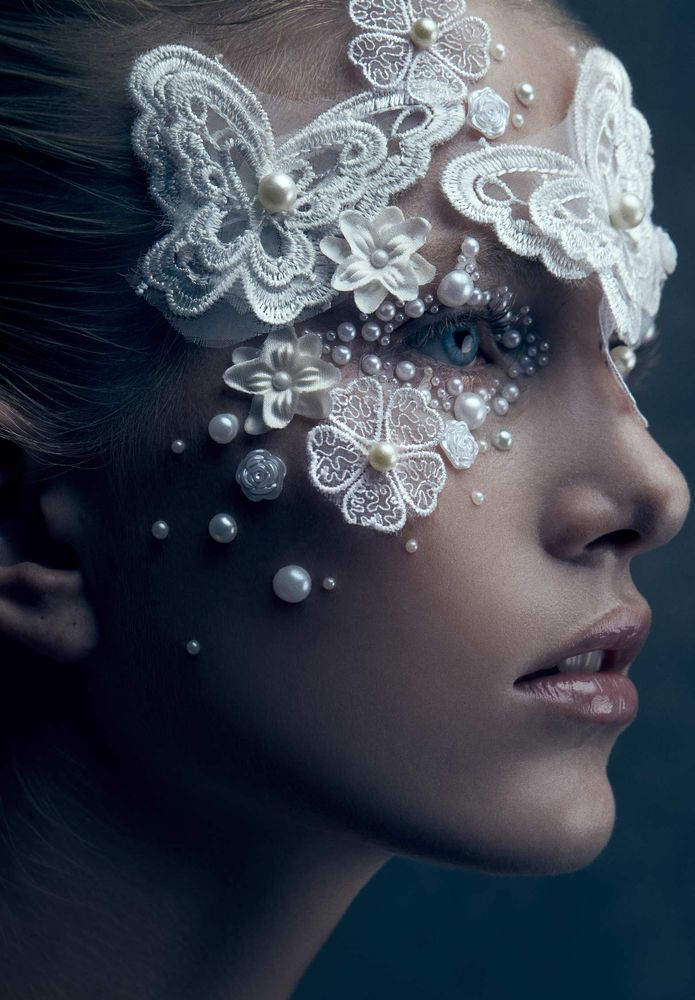Photo in Portrait #beauty #portrait #closeup #pearl #blond #blue eye #lace #skin #headshot #profile #studio #indoor #woman #one person #glamour #pretty