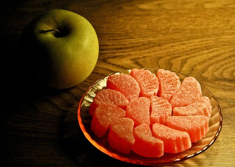 Photo in Food #apple #fruit #candy #orange #saucer #dessert
