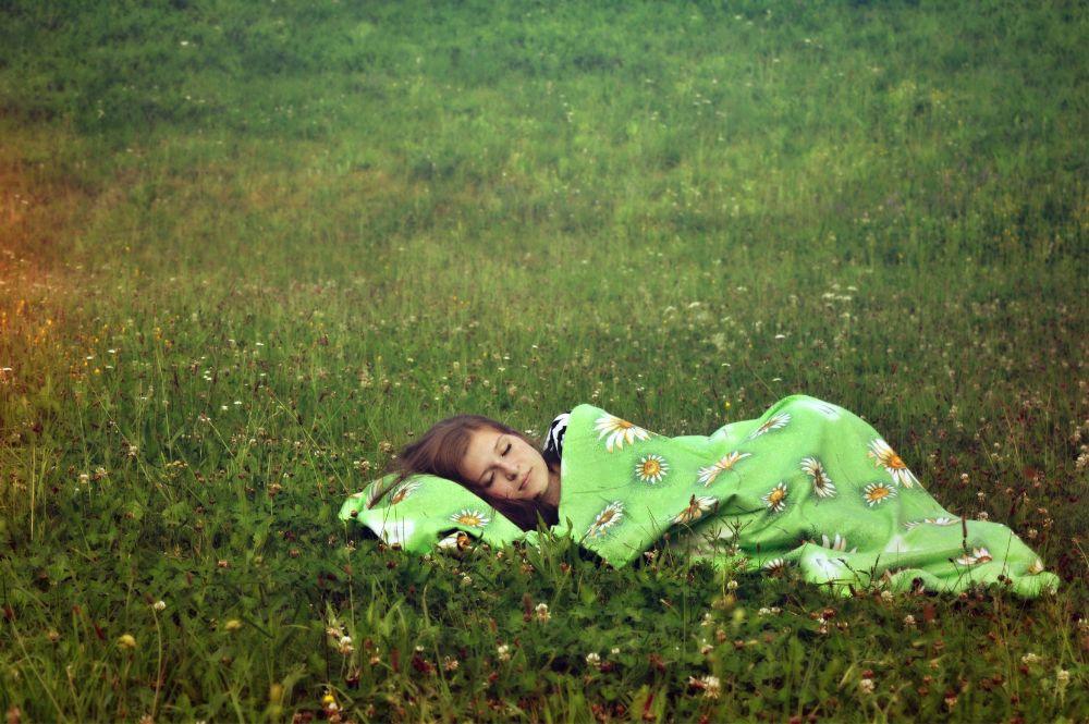 Photo in People #grass #duvet #featherbed #nature #czech #girl #sleeping #green #beauty #flowers