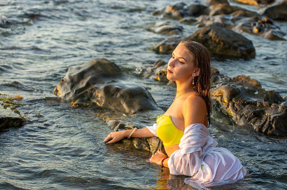 Photo in Portrait #swimsuit #bikini #beach #surf #shirt #sunset #model #girl #youth
