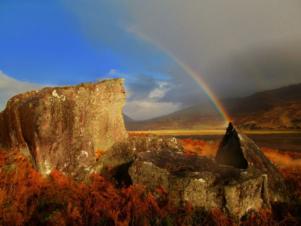 Photo in Random #rainbow #rocks #highlands #weather #colours #effects #countryside