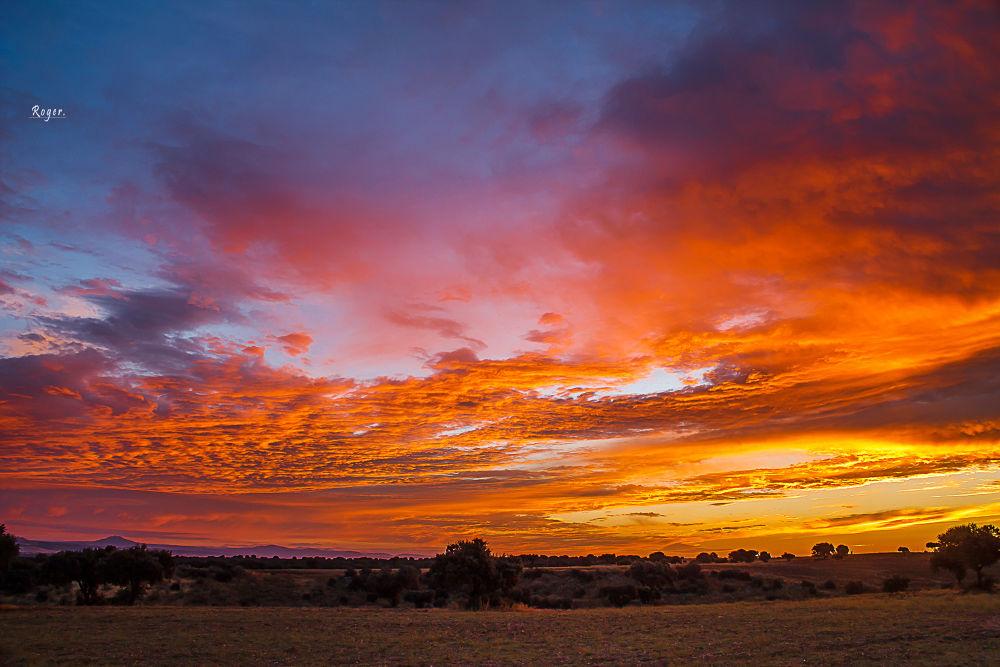Photo in Landscape #amanecer #cielo #nubes #colores #naranja #azul #rojo #amarillo #campo #la mancha #toledo