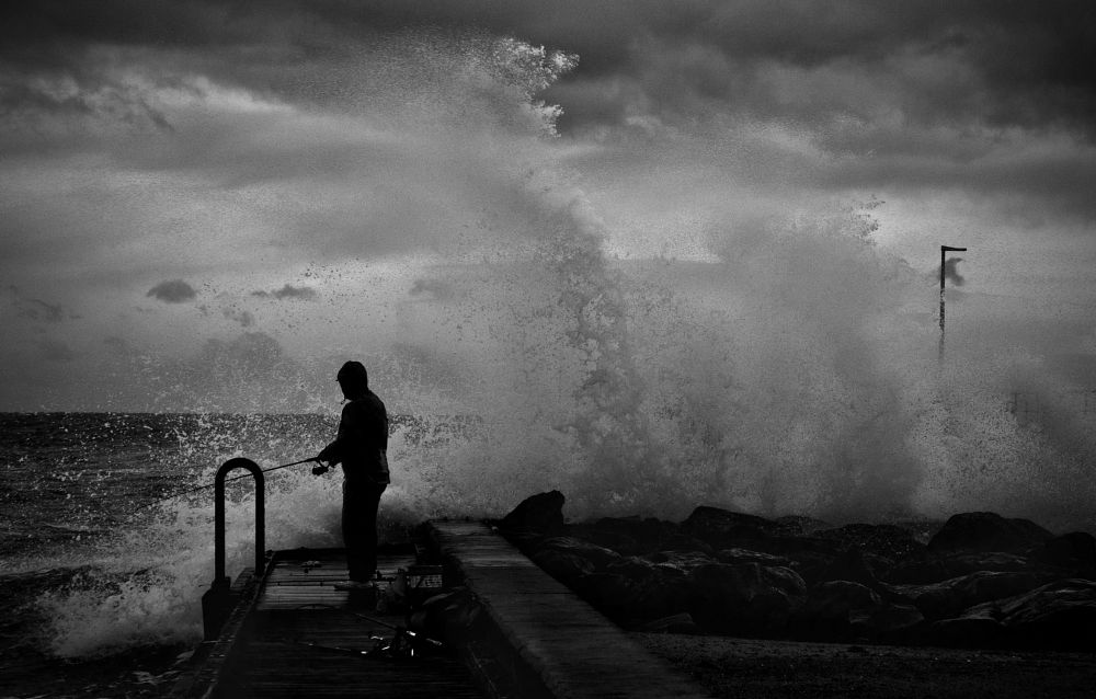 Photo in Black and White #sea #fisherman #bay #pier jetty bay ocean waves