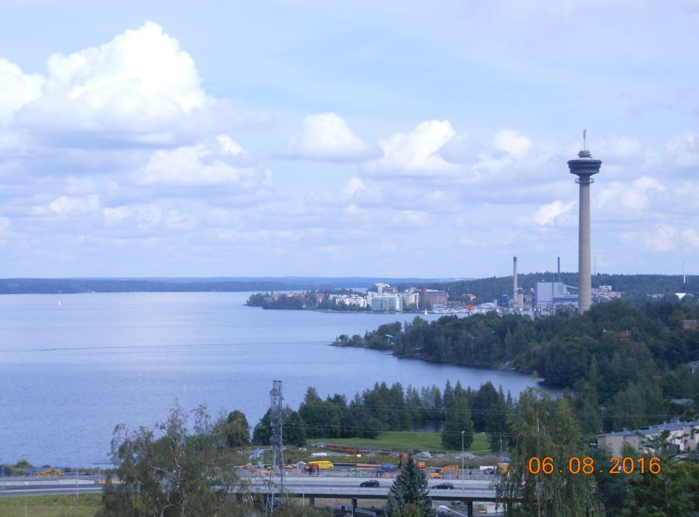Photo in Landscape #landscape #tampere #finland #water tower #lake #town