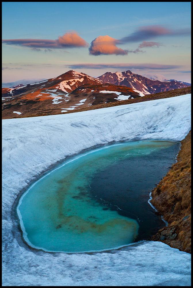 Photo in Landscape #blue #lake #glacier #sunrise #red #clouds #nature #landscape #mountains #romania #rodnei