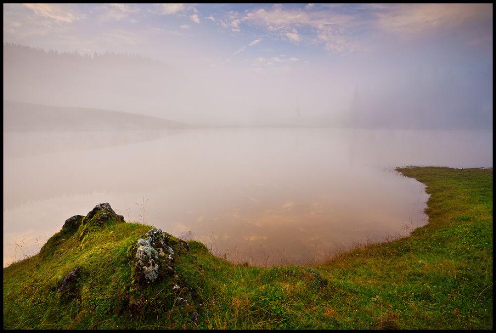Photo in Landscape #nature #landscape #fog #romania #padis #lake #sunrise #colorful