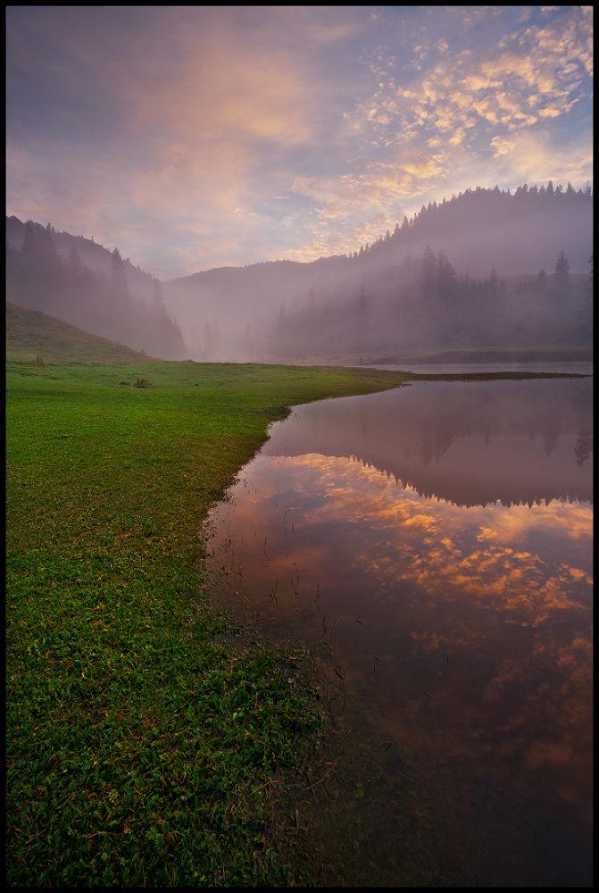 Photo in Landscape #nature #foggy #lake #landscape #romania #padis #reflection