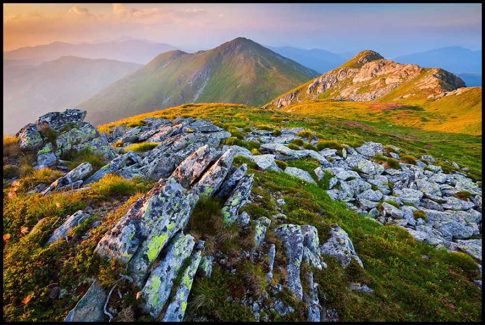 Photo in Landscape #landscape #mountains #nature #romania #sunrise #colorful #stones