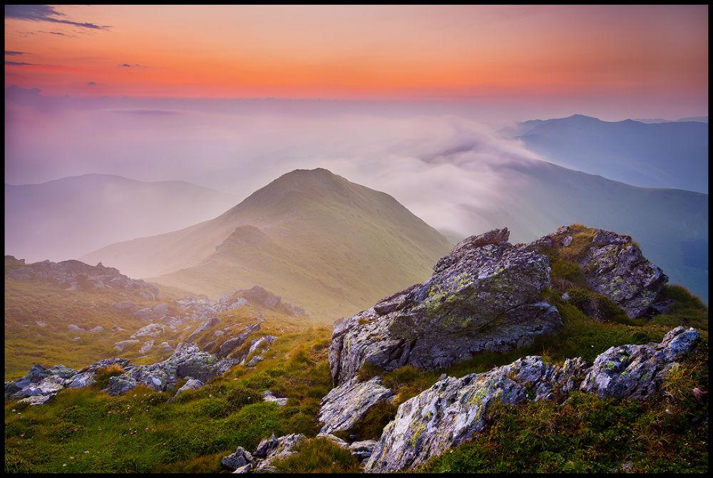 Photo in Landscape #mountains #landscape #nature #romania #morning #sunrise #pink #colorful #haze