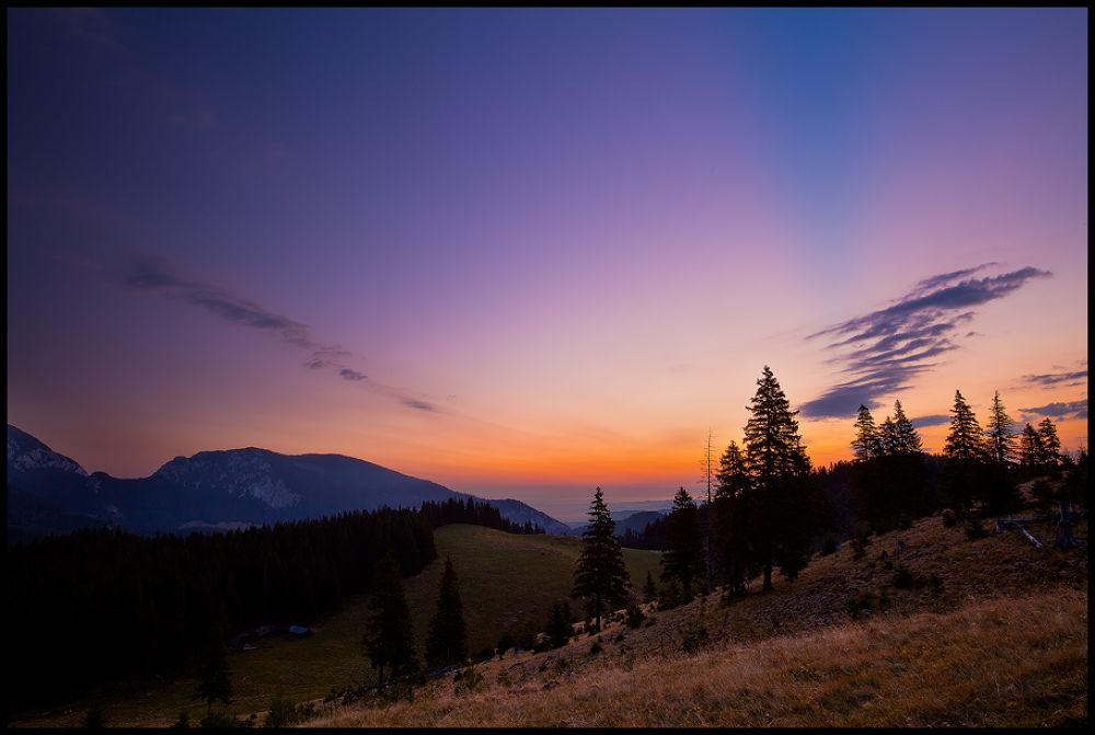 Photo in Landscape #nature #landscape #mountains #trees #dawn #sunrise #romania