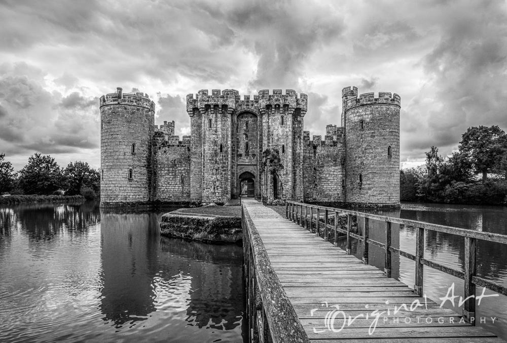 Photo in Black and White #monochrome #castle #bodiam #kent #black & white #moat #moody sky