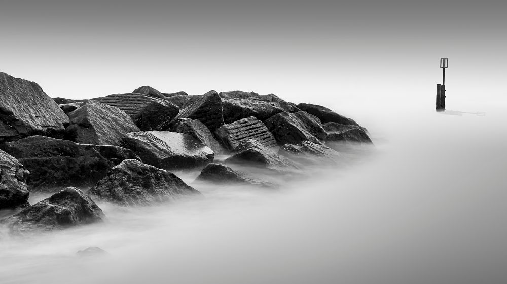 Photo in Black and White #southwold #rocks #2016 #2013 #b+w #black & white #long exposure #sign #mist #sea