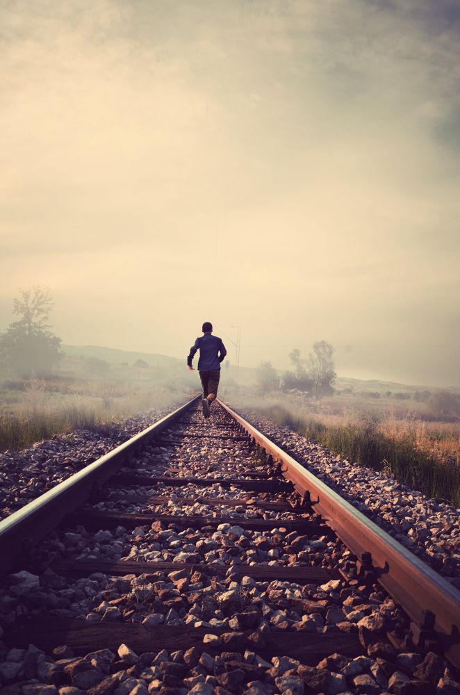 Photo in Fine Art #run #boy #railroad #fineart #creative #beautiful #nature