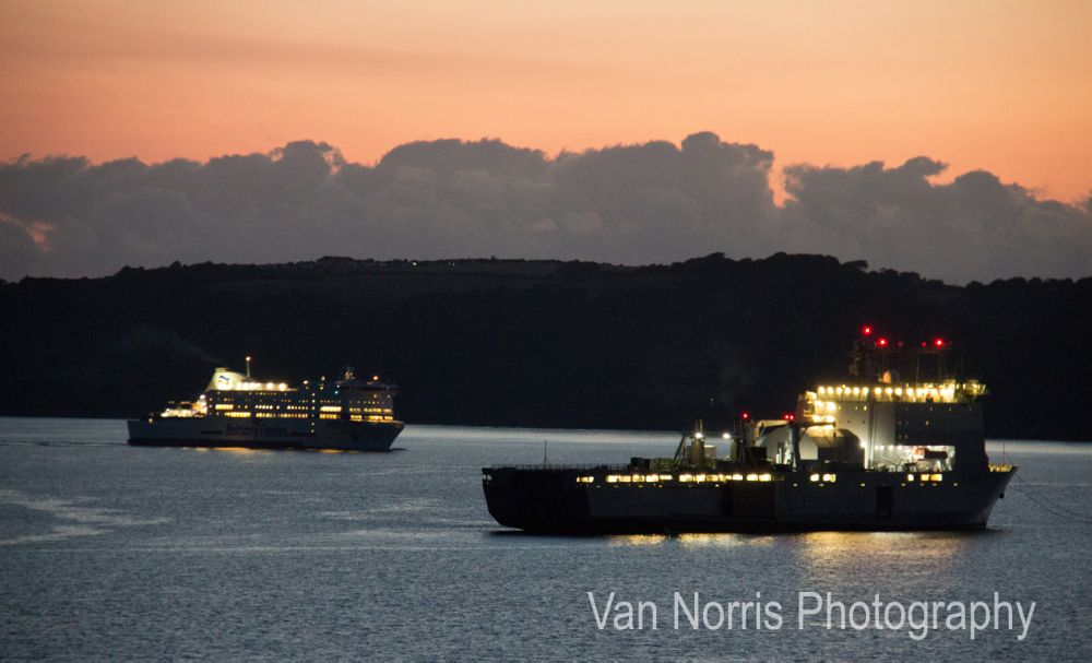 Photo in Sea and Sand #seaside #navy #ships #sunset #bovisand #plymouth sound
